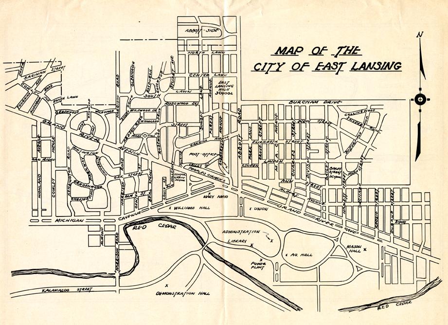 East Lansing map, circa 1946