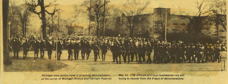 Police and Demonstrators on Michigan Avenue/Harrison Road from the East Lansing Towne Courier, 1972