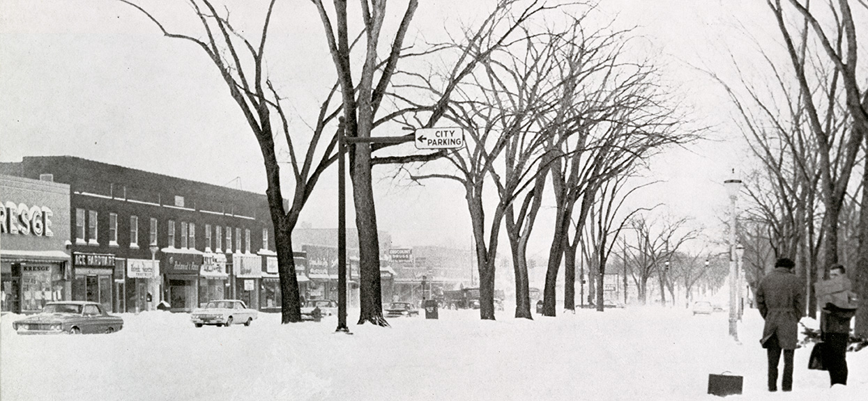 View of Grand River in winter 1965