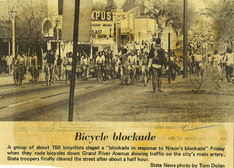 Bicycle Blockade on Grand River Avenue, 1972