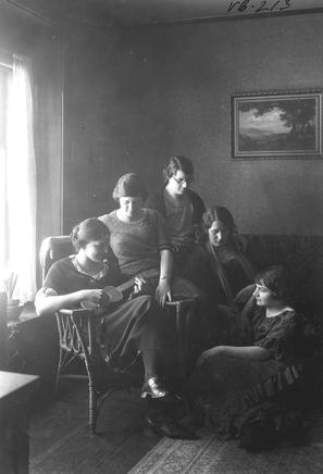 Women Students listening to music, circa 1919