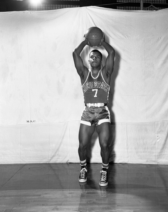 Posed Action Shot of Michigan State Basketball Player #7, 1952