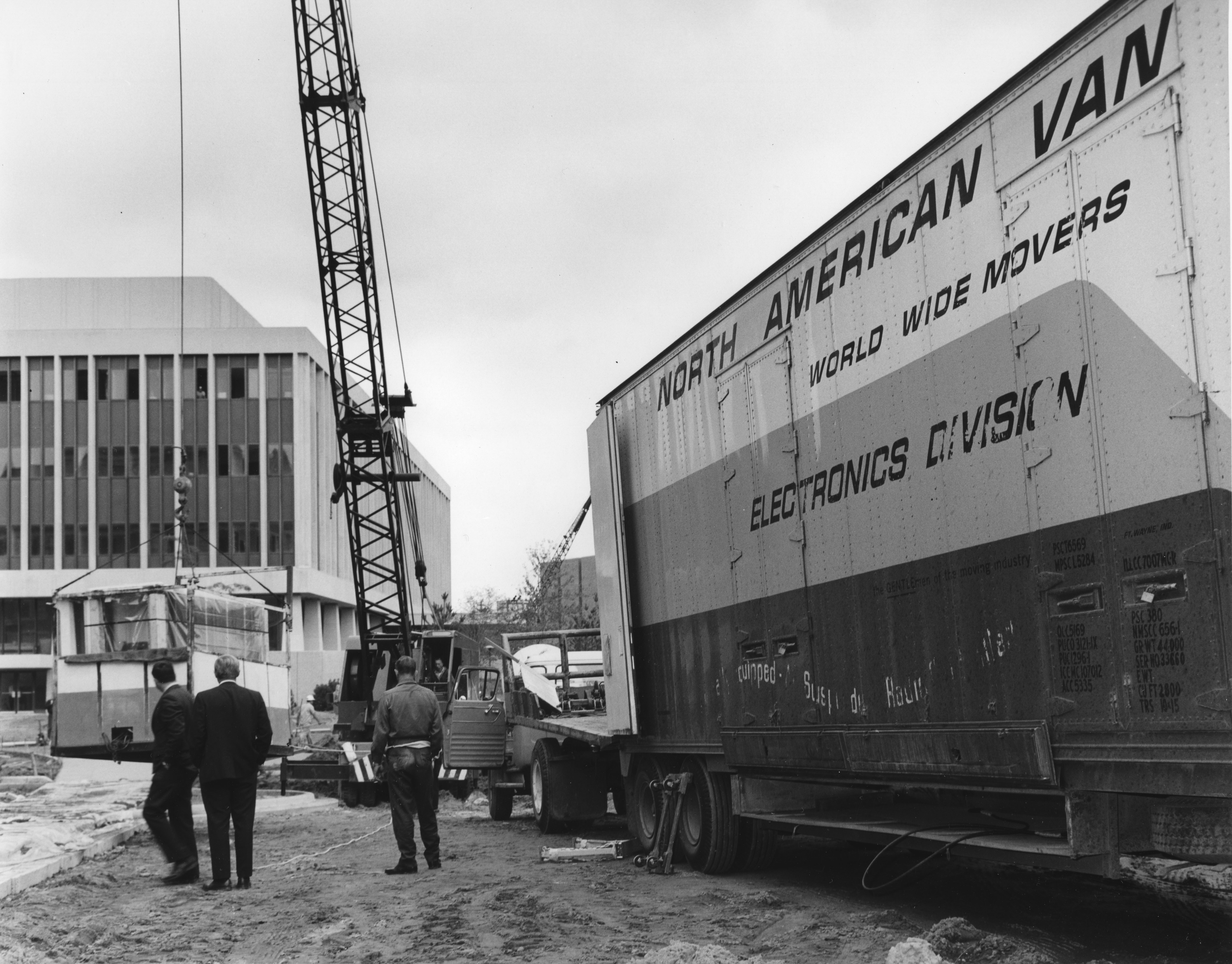 Crane lifting computer equipment, date unknown