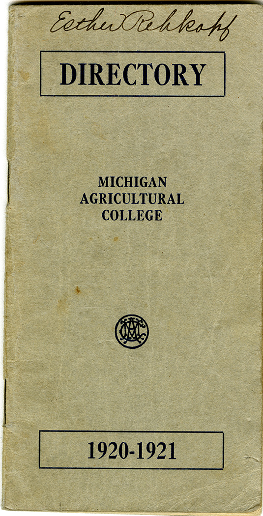 1920-1921 Michigan Agricultural College Directory.