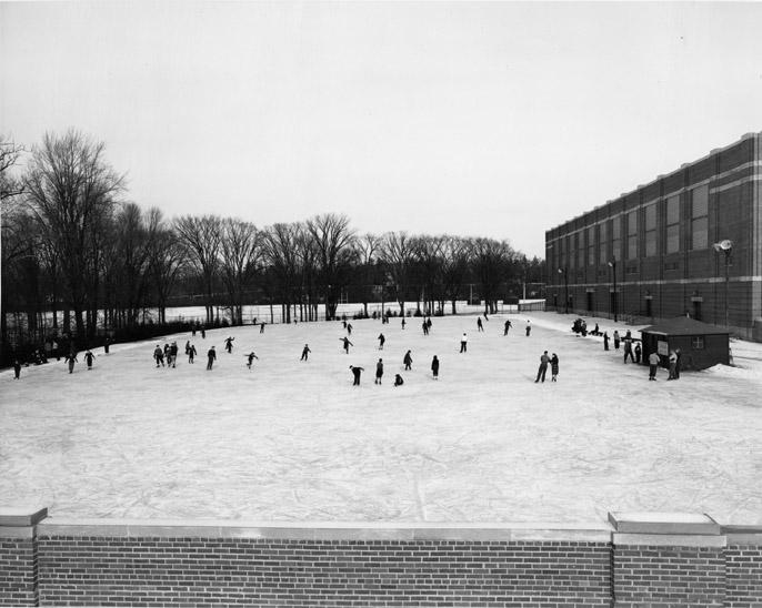 Ice Skating outside Jenison Hall, undated