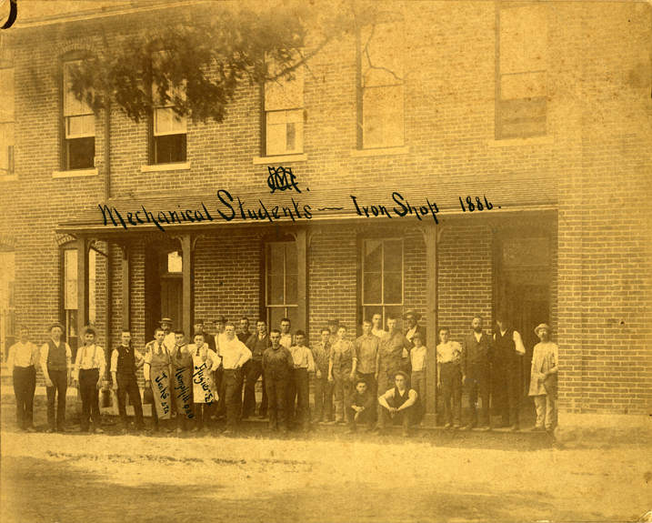 Mechanical students in front of the Iron Shop, 1886