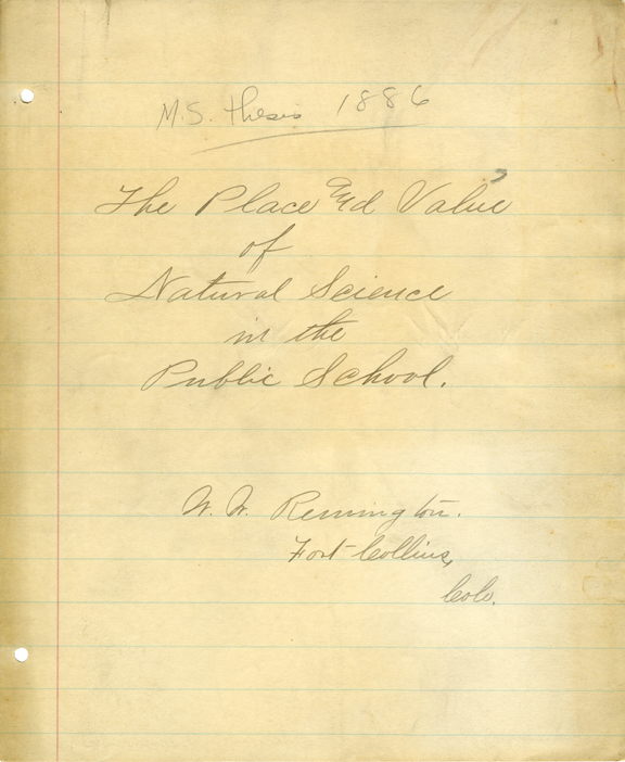 Walter W. Remington M.S. Thesis, 1886