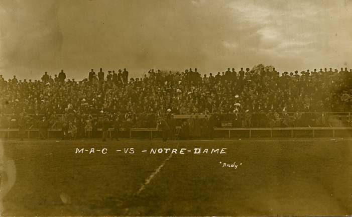 Fans at a M.A.C. vs. Notre Dame football game