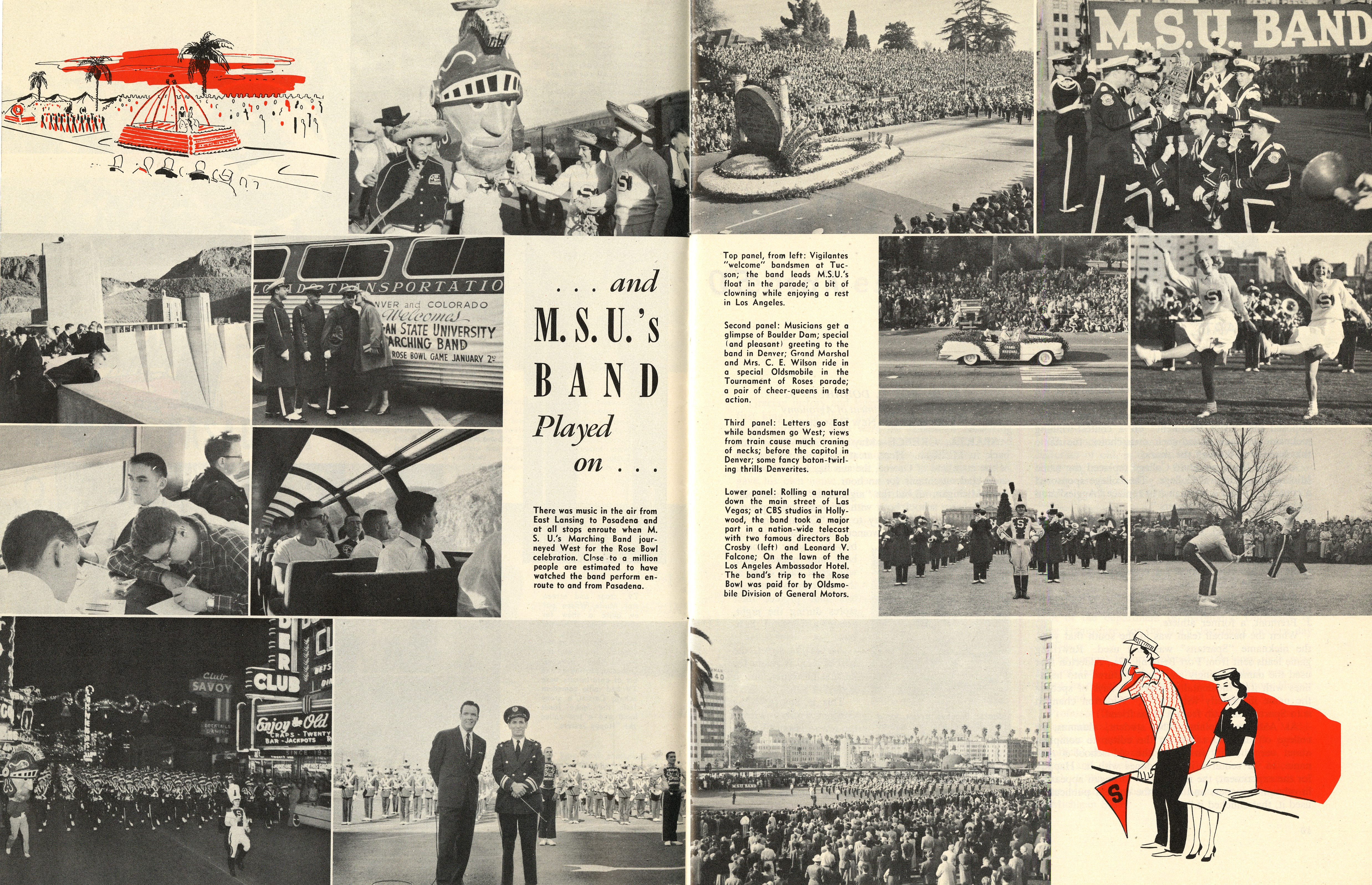MSU Marching Band's Rose Bowl trip, the Michigan State University Magazine, 1956
