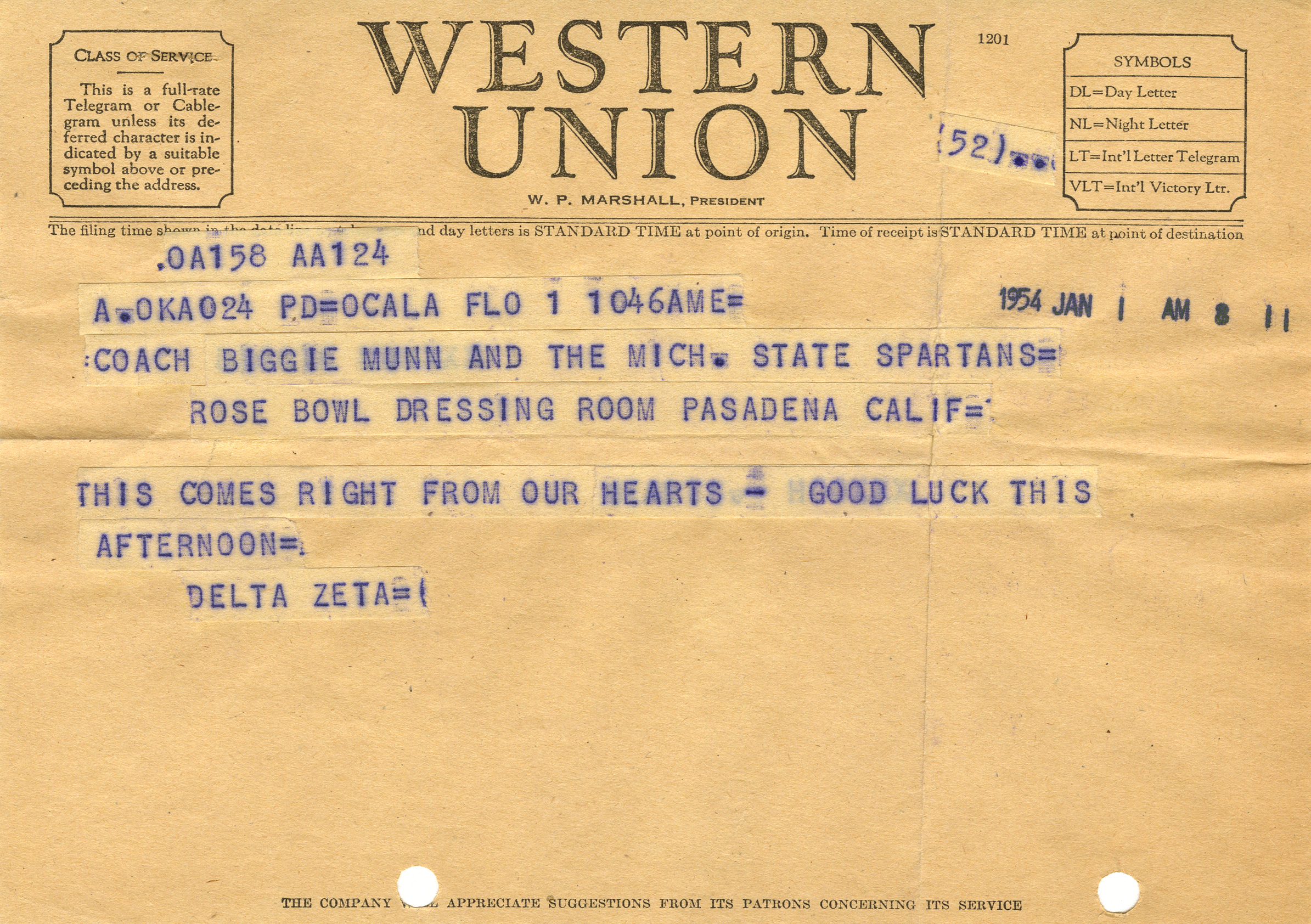 Good Luck telegram to Biggie Munn, 1954