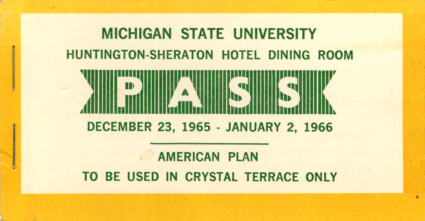 Huntington-Sheraton Hotel Dining Room Pass, 1965-1966