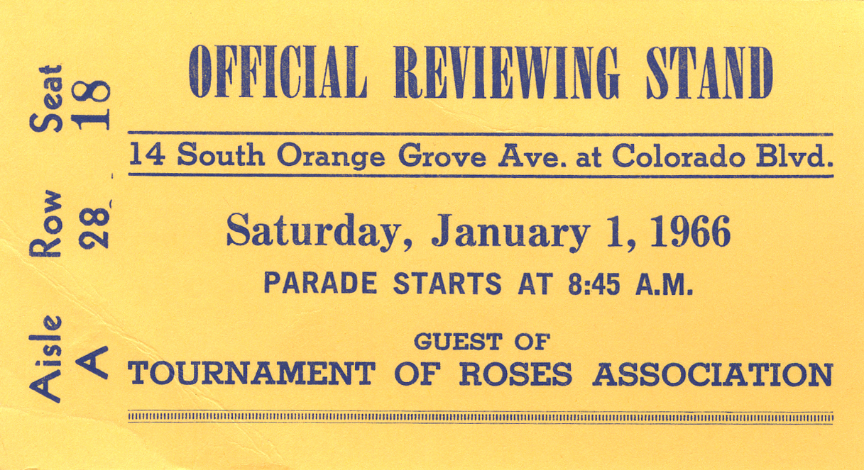 Tournament of Roses viewing pass, 1966