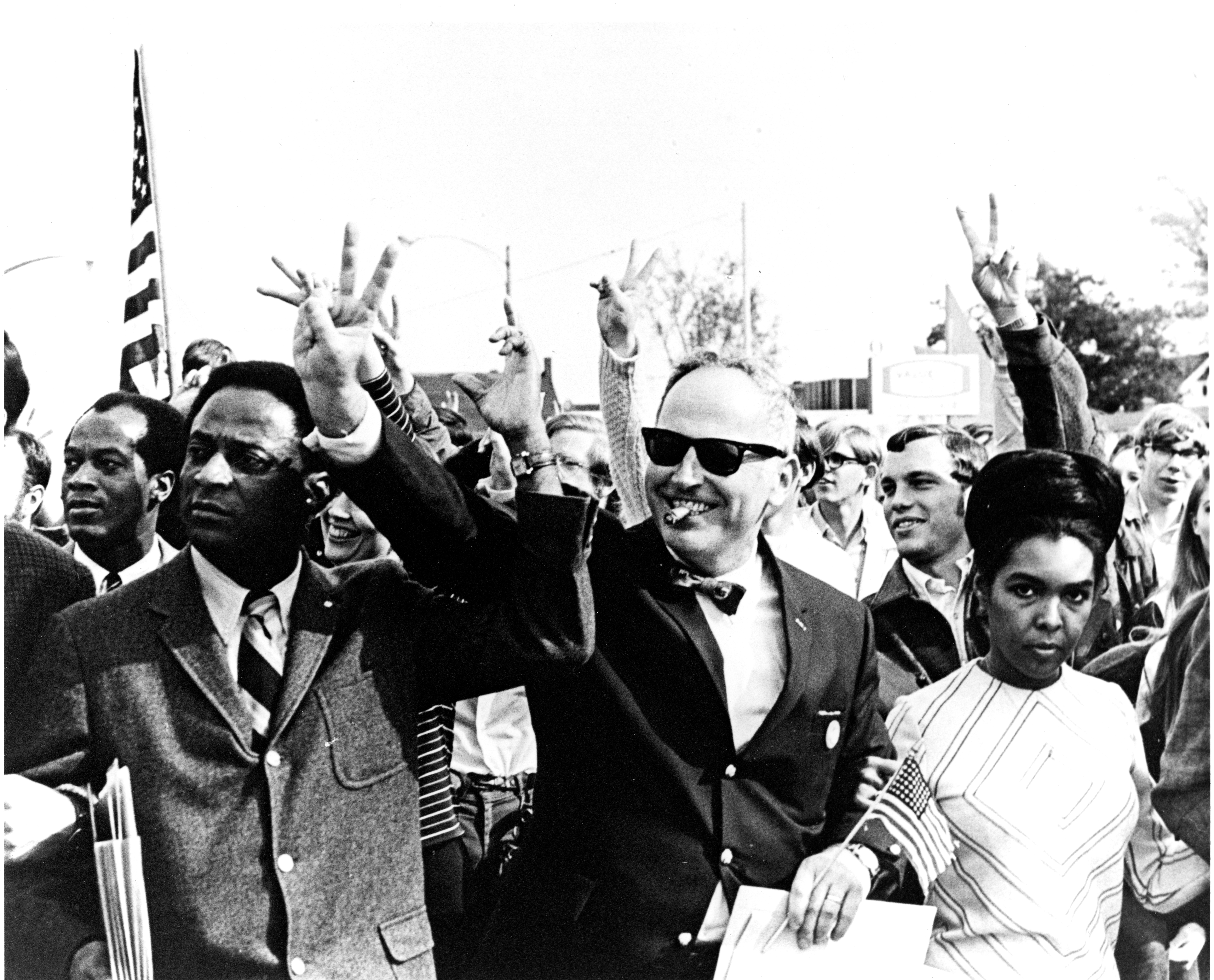 Walter Adams with protestors for peace, 1969