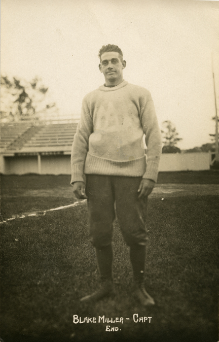 Blake Miller, captain of the M.A.C. football team, 1915