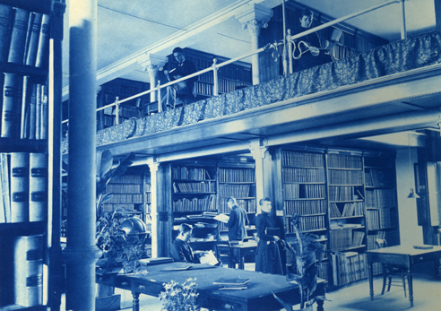 People studying in the library (Linton Hall)