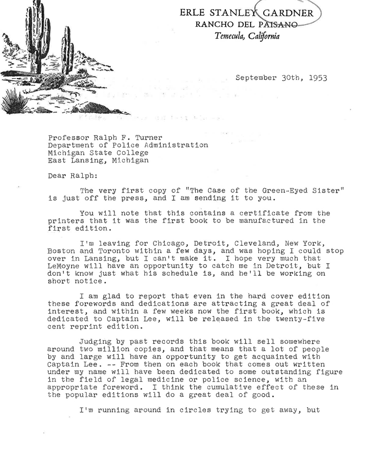 Letter from Erle Stanley Gardner, September 30, 1953