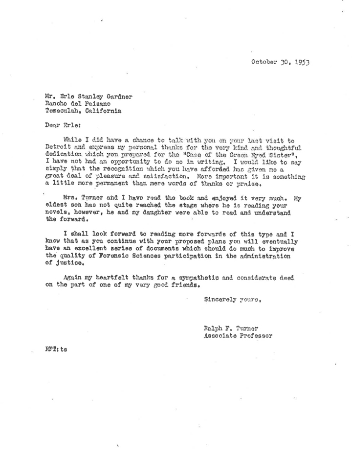 Letter from Ralph Turner, October 30, 1953