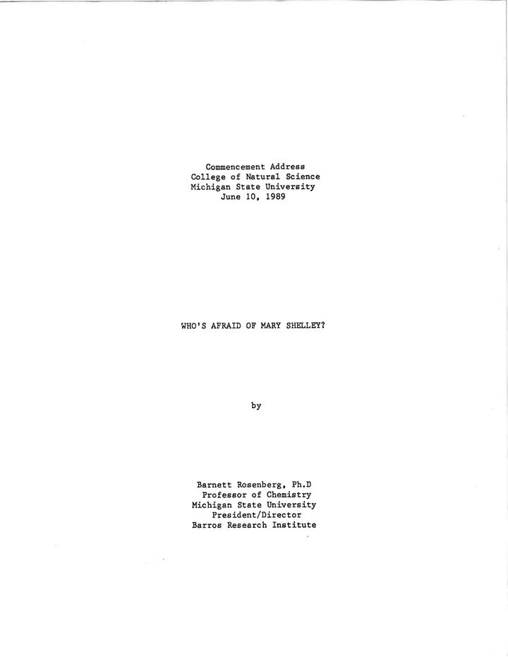 Commencement Address by Barnett Rosenberg