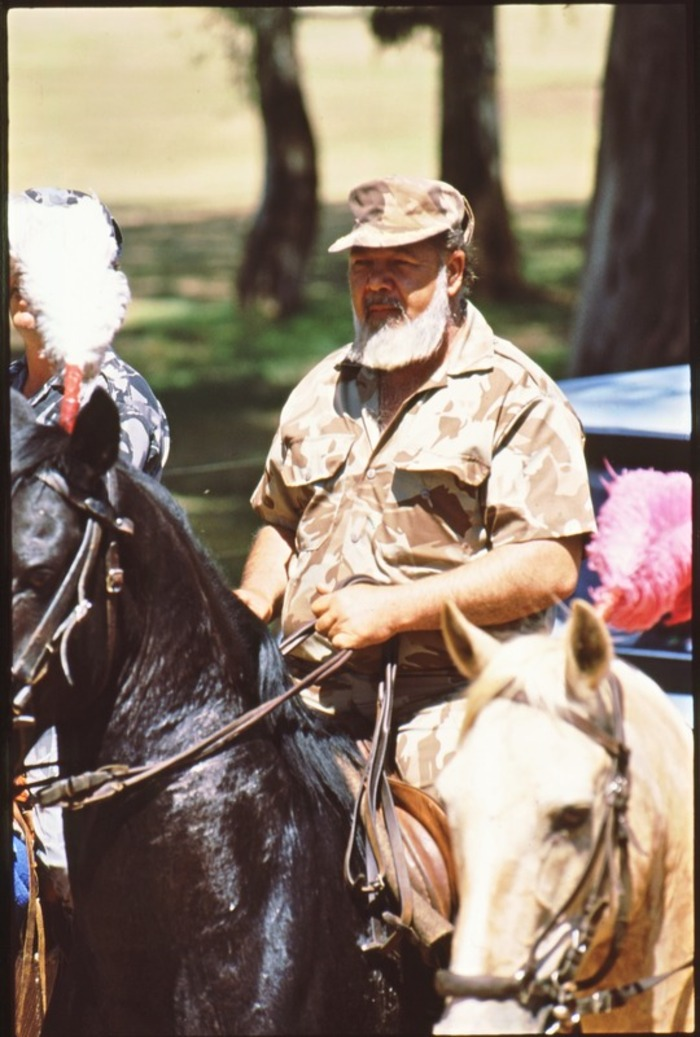 Eugene Terre\'Blanche, Afrikaner Weerstandsbeweging (AWB) leader,  on horseback during a right-wing rally in Klerksdorp in 1993.