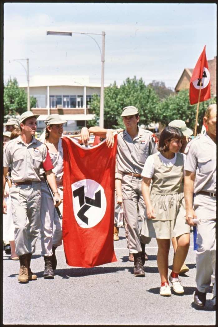 Youths carrying the Afrikaner Weerstandsbeweging (African Resistance Movement) flag during a right-wing rally in Klerksdorp in 1993.