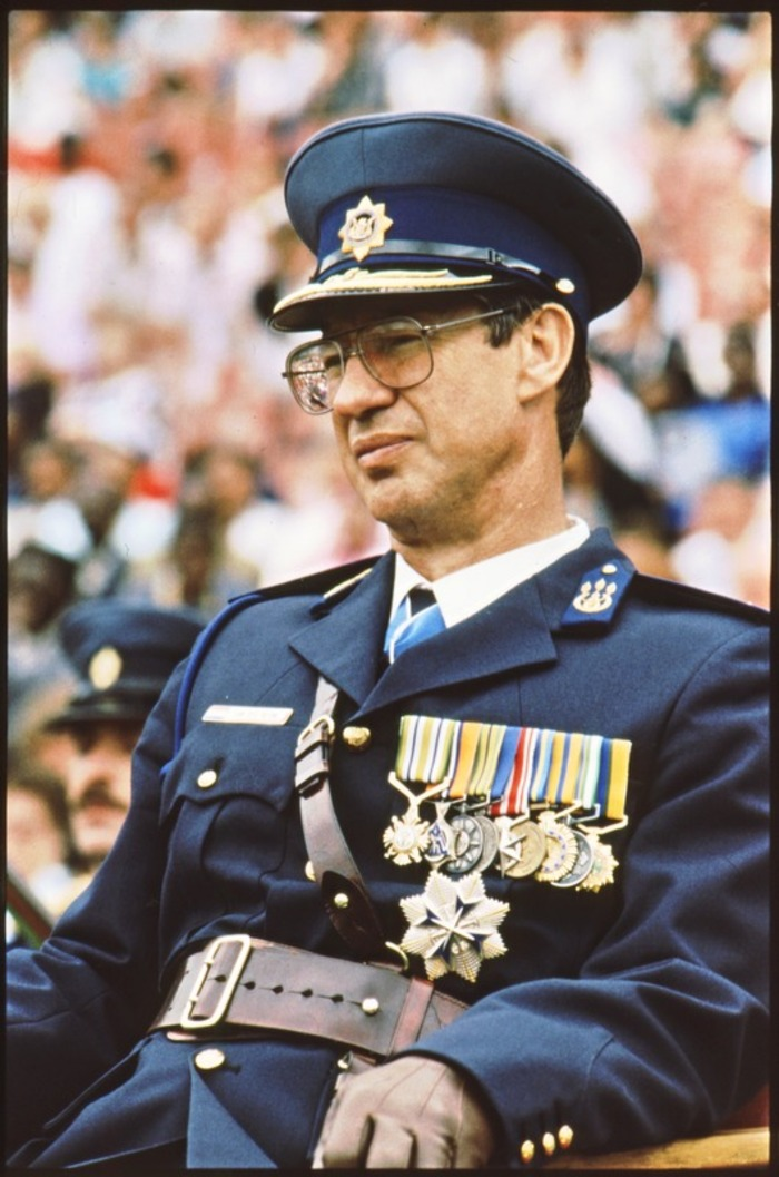 Former police commissioner General Johann van der Merwe at a South African Police (SAP) ceremony on December 1, 1989.