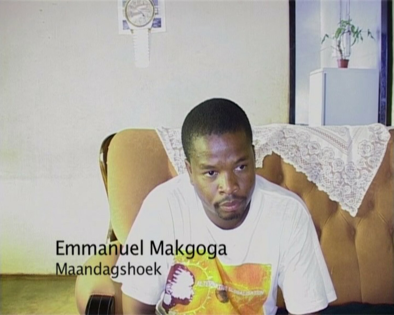 Emmanuel Makgoga, community leader/activist and spokesperson of the Maandagshoek Development Committee, during an oral history interview with Dale McKinley and Ahmed Veriava.