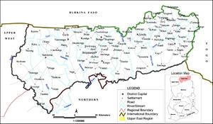 Map of the Upper East Region of Ghana