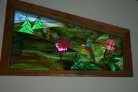 Trees, Flowers, and Hummingbird