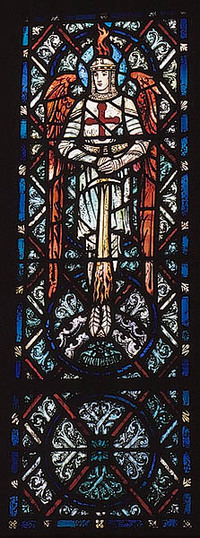 St. Michael with flaming helmet and sword