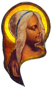 Woman's head, painted glass