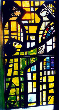 Namesake of community, Jesus shown as described in Rev.1:12-16, bottom detail of window