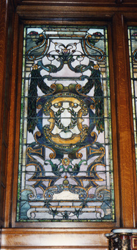 Decorative window of scrolls and arabesques