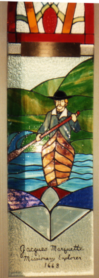Jacques Marquette, Missionary Explorer, 1668, in canoe