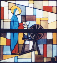 Mary at a spinning wheel
