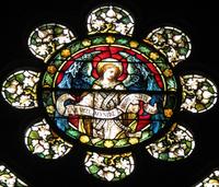 Jesus Raising Lazarus octofoil close-up