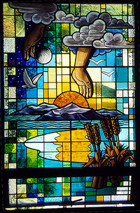 God's hands releasing doves after the flood