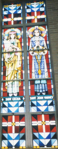 St. Cecelia and St. John Vianney, close-up