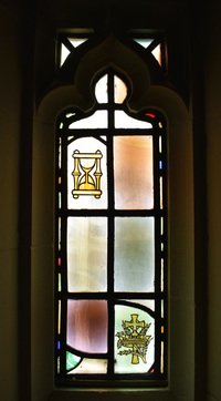 Hour Glass and Crown with Cross and Laurel Branch